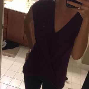 Purple v neck fun top